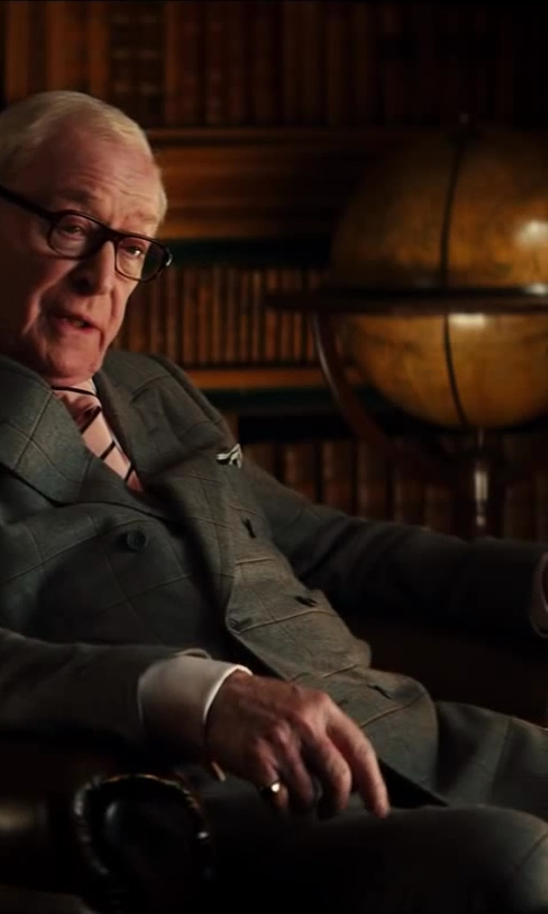 Michael Caine with Kingsman for Mr. Porter Grey Double-Breasted Glen Check Suit in Kingsman: The Secret Service