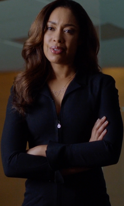 Gina Torres with Akris Double-Face Wool Sheath Dress in Suits