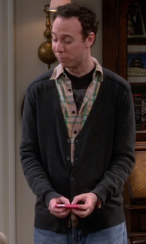 Kevin Sussman with J. Crew Slim Merino Wool Cardigan Sweater in The Big Bang Theory