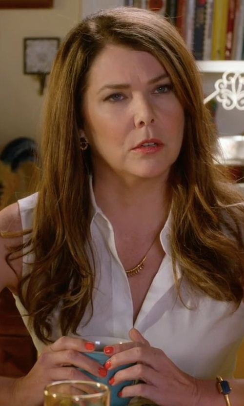 Lauren Graham with Theory Tanelis Modern Silk Sleeveless Blouse in Gilmore Girls: A Year in the Life