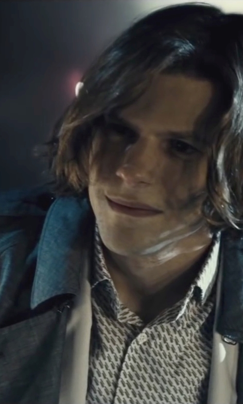 Jesse Eisenberg with Burberry Mid-Length Wool Cashmere Trench Coat in Batman v Superman: Dawn of Justice