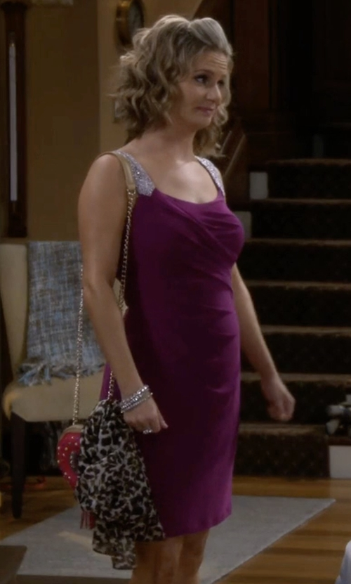 Andrea Barber with Lauren Ralph Lauren Embellished Straps Jersey Sheath Dress in Fuller House