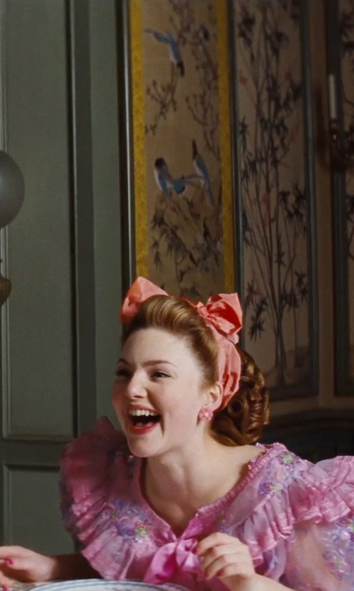Holliday Grainger with Sandy Powell (Costume Designer) Custom Made Pink Floral Earrings (Anastasia) in Cinderella