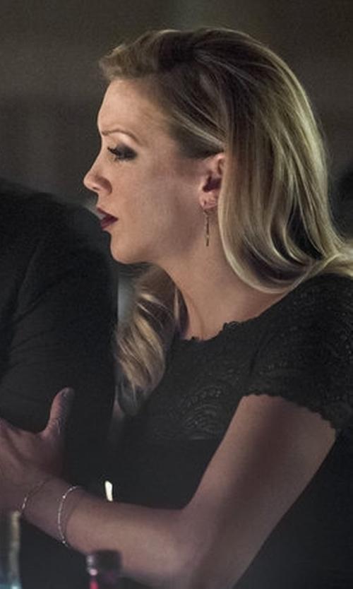 Katie Cassidy with La Petite Robe Di Chiara Boni Lace-Top Illusion Gown in Arrow