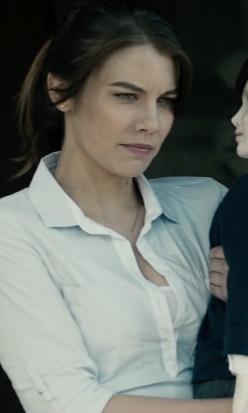 Lauren Cohan with Loft Henley Tunic Softened Shirt in The Boy
