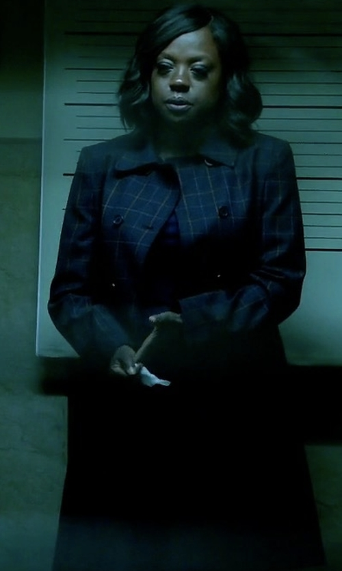 Viola Davis with Theory Abla Tile-Check Double-Breasted Coat in How To Get Away With Murder