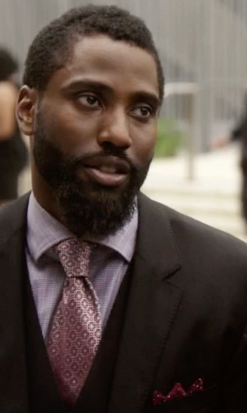 John David Washington with Neiman Marcus Dot-Print Pocket Square in Ballers