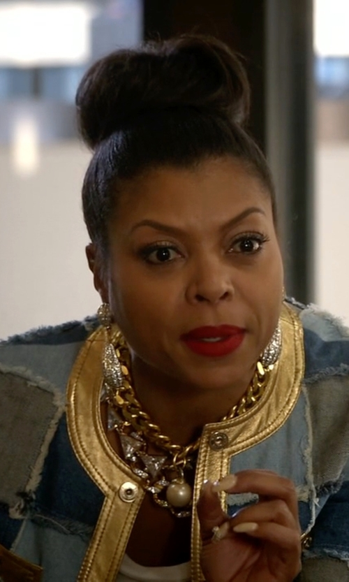 Taraji P. Henson with Kenneth Jay Lane Large Crystal Button Drop Earrings in Empire