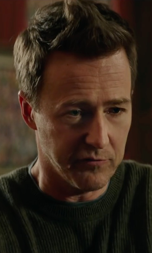 Edward Norton with Blk Dnm Crew Neck Sweater in Collateral Beauty