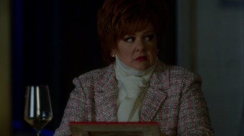 Melissa McCarthy with St. John Long Knit Wool Blend Jacket in The Boss