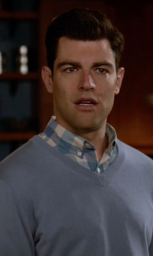 Max Greenfield with Nordstrom Regular Fit Cotton V-Neck Sweater in New Girl