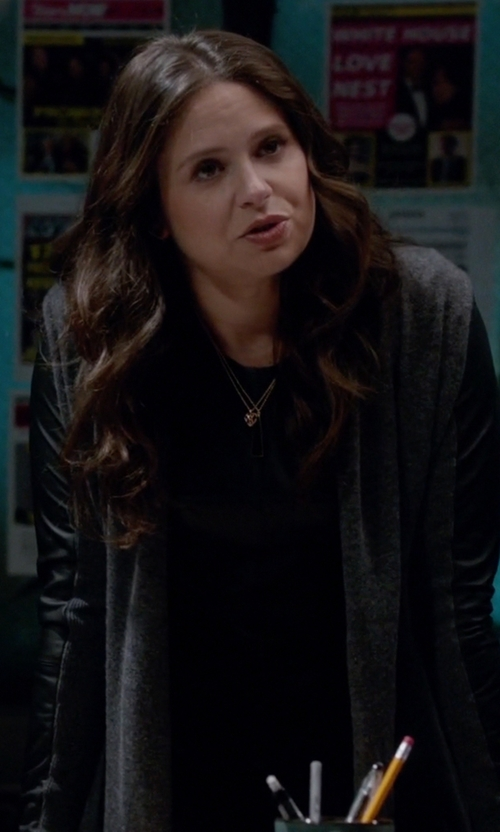 Katie Lowes with Bailey 44 Alliteration Faux Leather Top in Scandal
