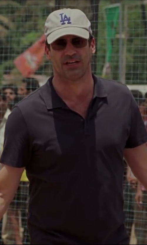 Jon Hamm with Ralph Lauren Black Label Short-Sleeve Mesh-Knit Polo Shirt in Million Dollar Arm