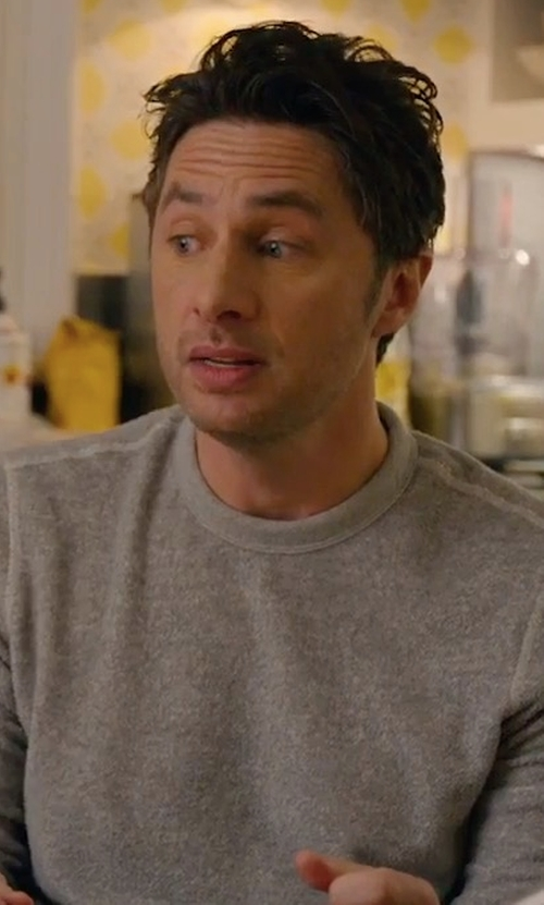 Zach Braff with Gant Merino Wool Crew Sweater in Alex, Inc.