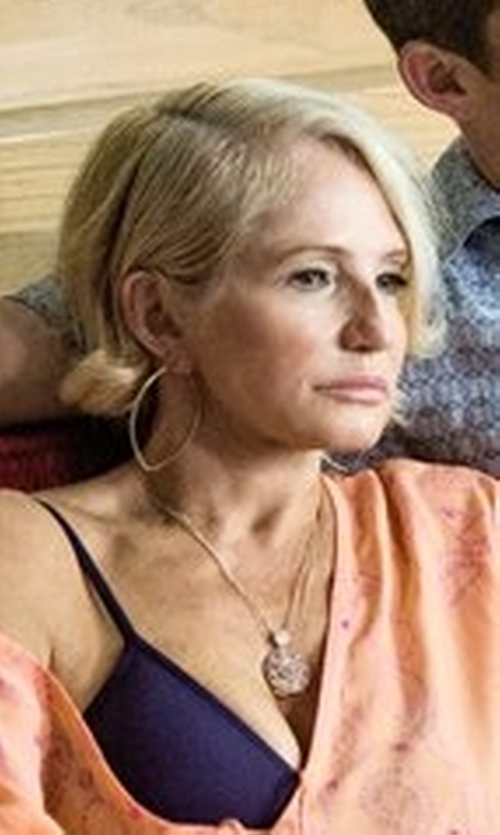 Ellen Barkin with David Yurman Diamond Star of David Pendant Necklace in Animal Kingdom