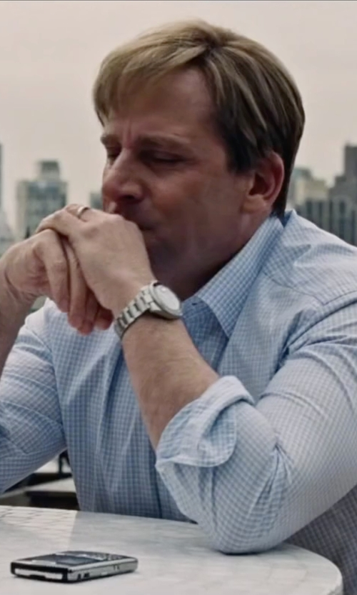 Steve Carell with Ami Alexandre Mattiussi Gingham Check Shirt in The Big Short