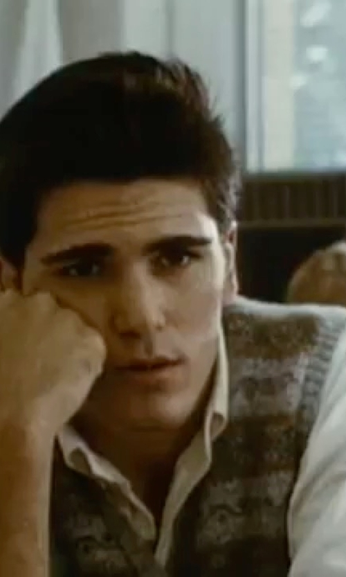 Michael Schoeffling with Tasso Elba Big and Tall Fairisle Argyle Sweater Vest in Sixteen Candles