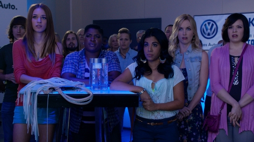 Alexis Knapp with Roxy Oceanside Beach Shorts in Pitch Perfect 2