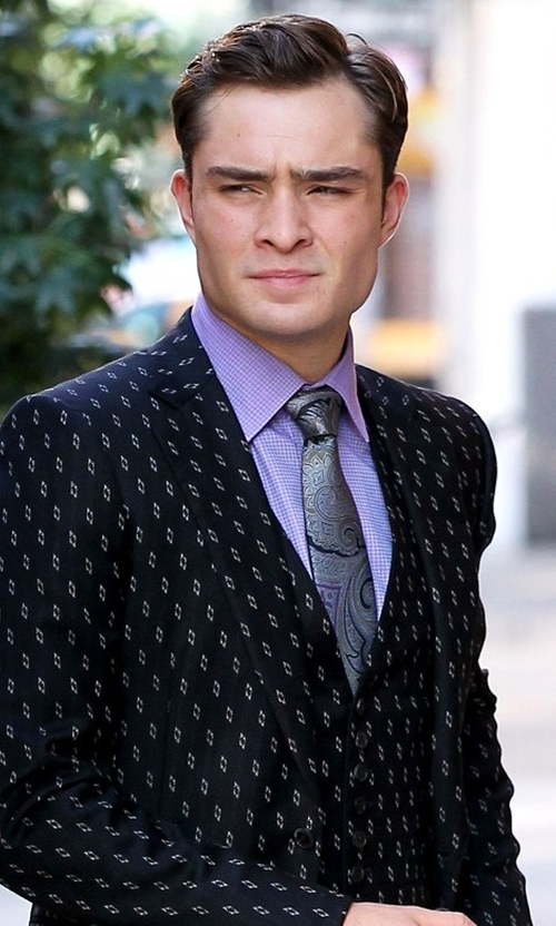 Ed Westwick with J.Z. Richards  Paisley Silk Tie  in Gossip Girl