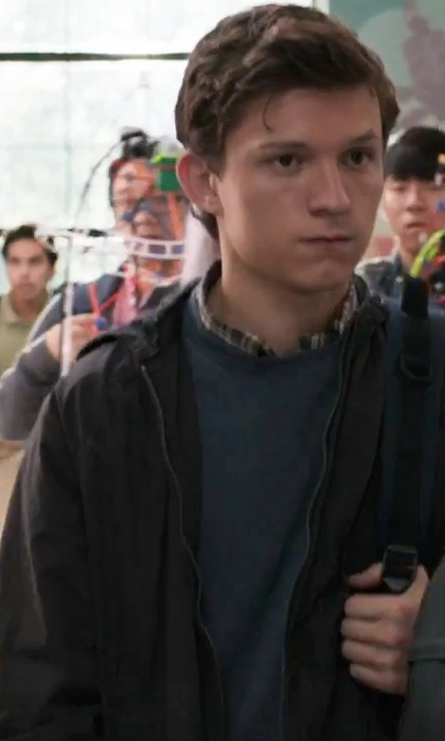 Tom Holland with Madison Supply Hooded Zip-Up Windbreaker Jacket in Spider-Man: Homecoming