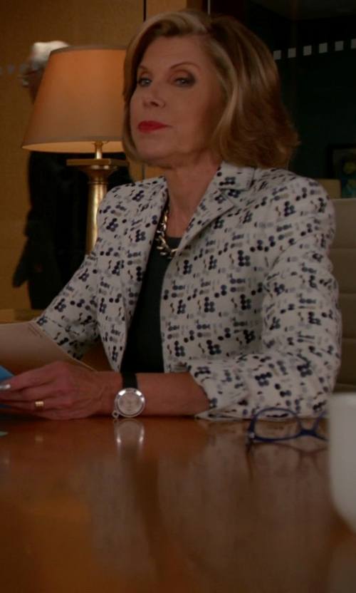 Christine Baranski with Akris Punto Mini Dot Jacquard Jacket in The Good Wife
