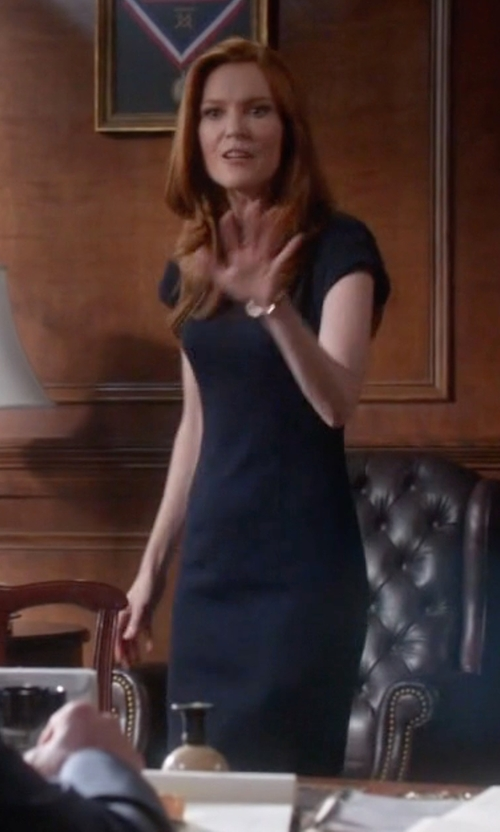 Darby Stanchfield with Tibi 'Delave' Cap Sleeve Sheath Dress in Scandal