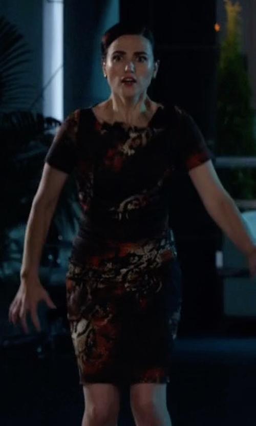 Katie McGrath with Karen Millen Red Snake Print Dress in Supergirl