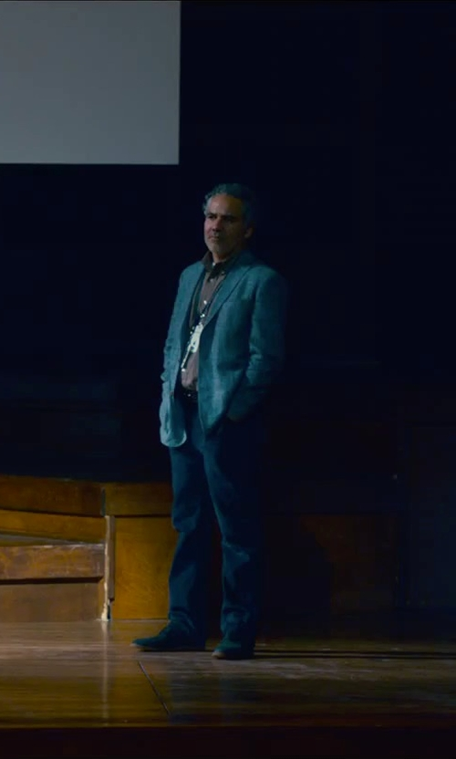 John Ortiz with Blue Blue Japan Herringbone Linen Suit Jacket in Steve Jobs