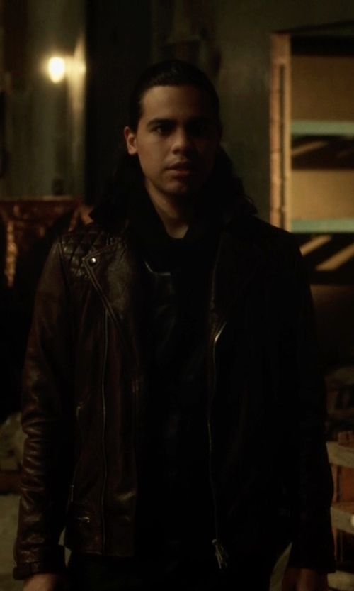 Carlos Valdes with All Saints Conroy Leather Biker Jacket in The Flash