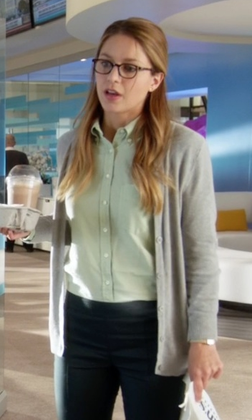 Melissa Benoist with Doublju Women Button-Down Spandex Shirt in Supergirl