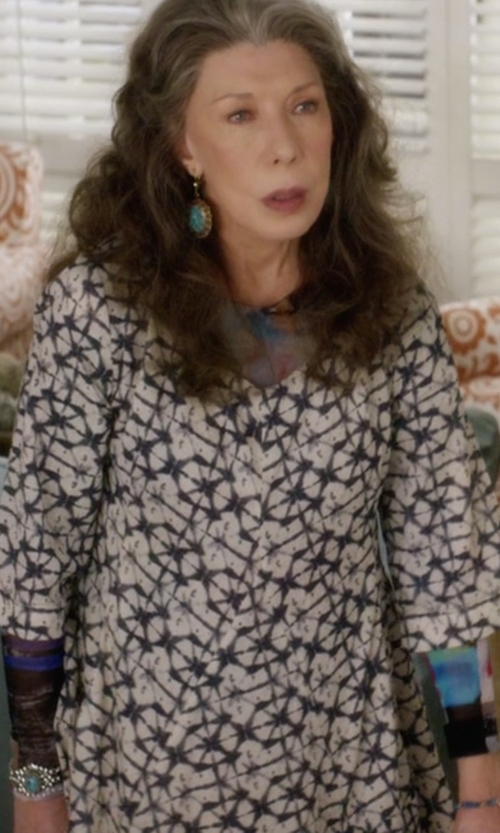 Lily Tomlin with A.L.C. Terry Floral Silk Fit & Flare Dress in Grace and Frankie