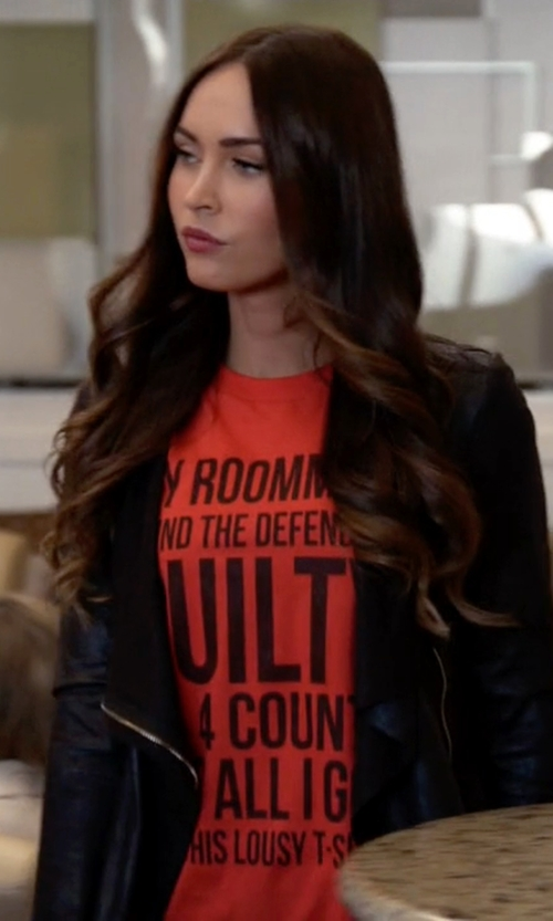 Megan Fox with Central Park West Paraguay Drape Jacket in New Girl
