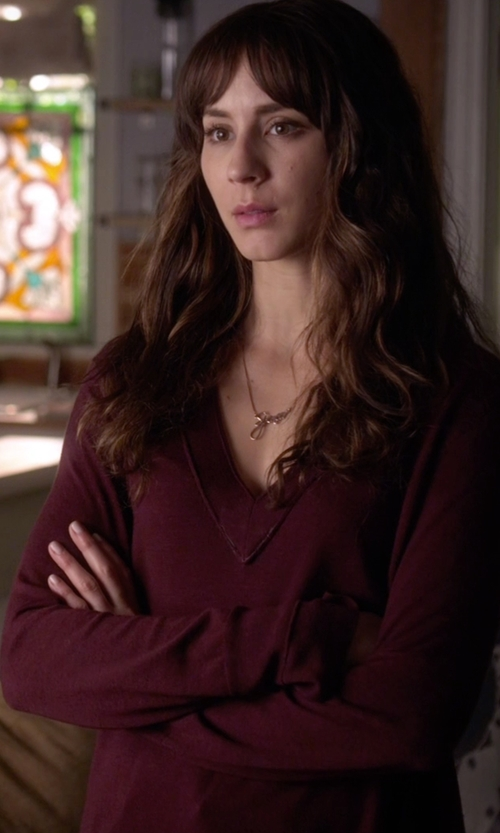 Troian Bellisario with Rag & Bone/Jean Leanna Seamed Merino Wool V-Neck Sweater in Pretty Little Liars