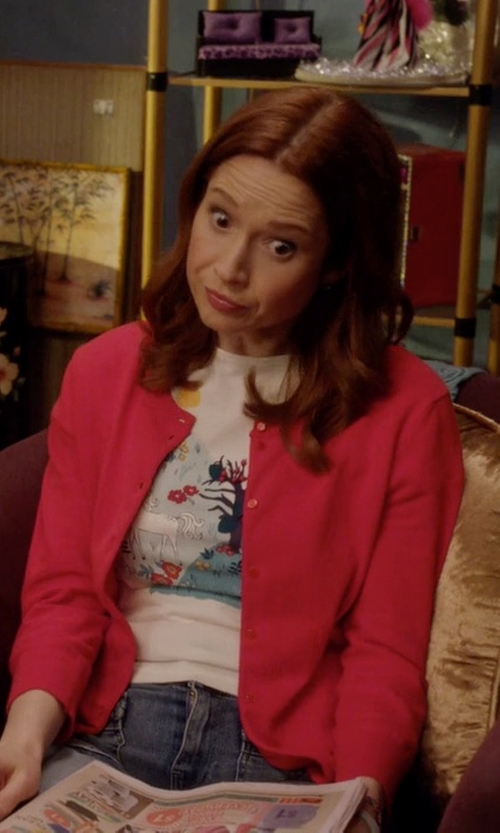 Ellie Kemper with Boden Favourite Crew Cardigan in Unbreakable Kimmy Schmidt