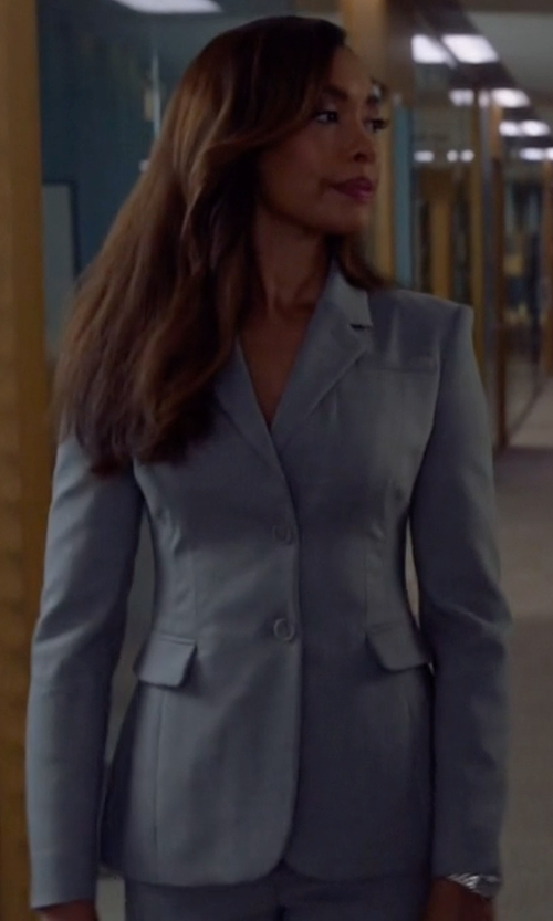 Gina Torres with Boss Blurred Focus Cuff Link Blazer in Suits