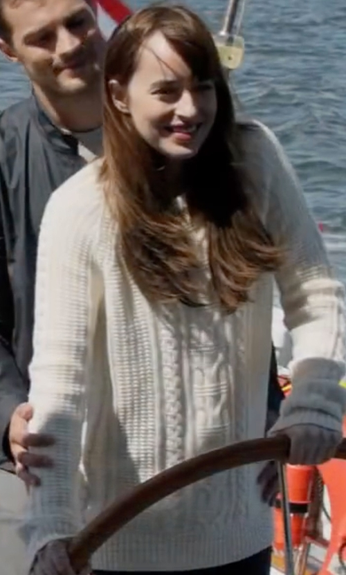Dakota Johnson with Callens Long-Sleeve Cable-Knit Sweater in Fifty Shades Darker