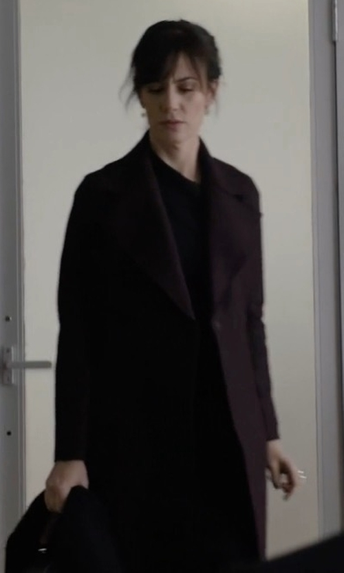 Maggie Siff with Harris Wharf London Flared Double Breasted Wool Felt Coat in Billions