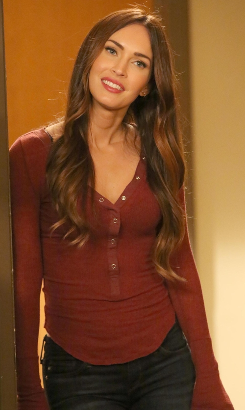 Megan Fox with Out From Under Woven Placket Henley Top in New Girl