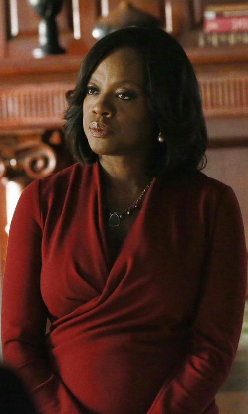 Viola Davis with Alexander McQueen Fitted Wrap- Front Dress in How To Get Away With Murder