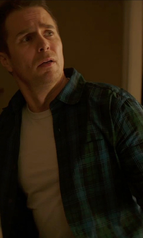 Sam Rockwell with Gap Plaid Green Button Shirt in Poltergeist