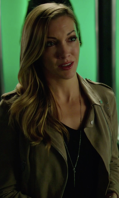 Katie Cassidy with All Saints Suede Western Biker Jacket in Arrow