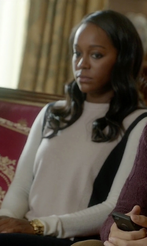 Aja Naomi King with Vince Colorblock Cashmere Sweater in How To Get Away With Murder