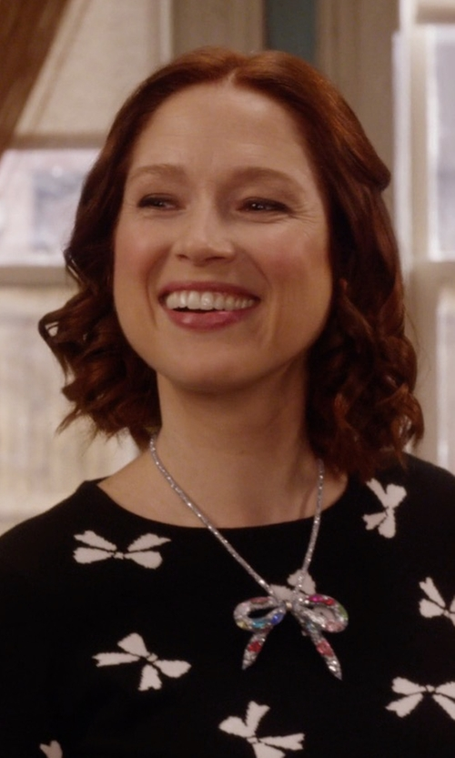 "Ellie Kemper with Betsey Johnson ""Dark Shadows"" Mesh Bow Necklace in Unbreakable Kimmy Schmidt"