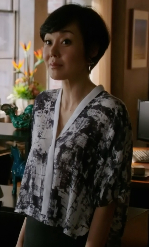 Yunjin Kim with Helmut Lang Scriber Print Shirt in Mistresses