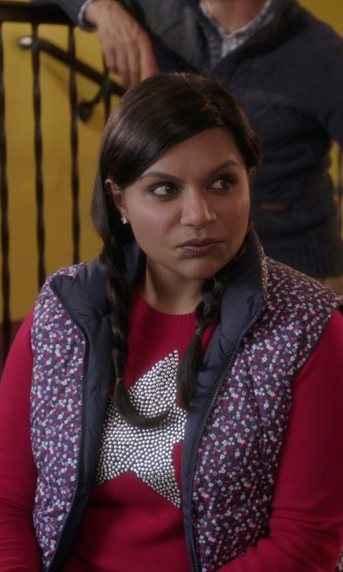 Mindy Kaling with Bella Freud Star Studded Intarsia Merino Wool Sweater in The Mindy Project