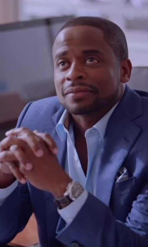 Dulé Hill with Emporio Armani Swiss Made Chronograph Leather Strap Watch in Ballers