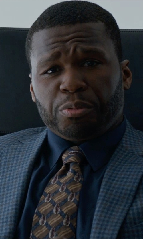 50 Cent with Ralph Lauren Silk Repp Club Narrow Tie in Southpaw