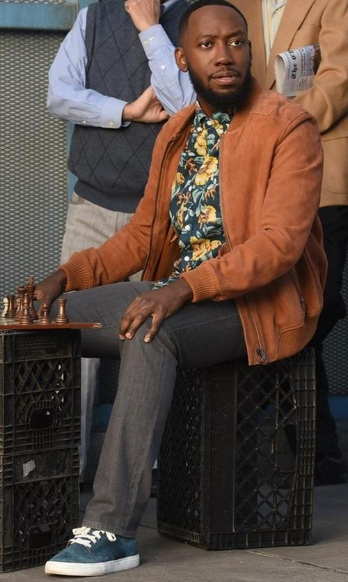 Lamorne Morris with Public School Nubuck Leather Low Sneakers in New Girl