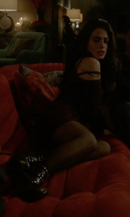 Emeraude Toubia with Alaia Leather Suede Studded Booties in Shadowhunters