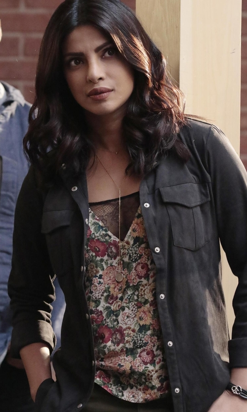 Priyanka Chopra with Bishop + Young Sleeveless Printed Blouse in Quantico